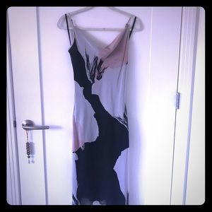 Beautiful 💯Silk Black Pink And White Slip Dress